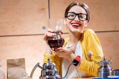 Woman brewing alternative coffee Royalty Free Stock Photo