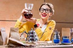 Woman brewing alternative coffee Royalty Free Stock Image