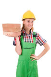 Woman with bricks isolated Stock Photography