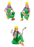 The woman with bricks isolated on white Stock Photos