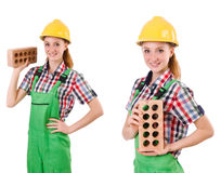 The woman with bricks isolated on white Royalty Free Stock Photos