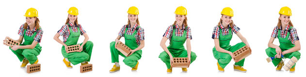 The woman with bricks isolated on white Stock Images