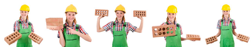 Woman with bricks isolated on white Royalty Free Stock Photo