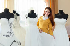 Woman in bridal boutique Royalty Free Stock Photo