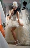 Woman in Bridal Shop Royalty Free Stock Photos