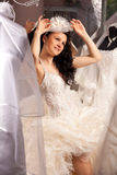 Woman in Bridal Shop Stock Photo