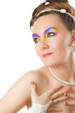Woman bride with bright creative  make-up Royalty Free Stock Photos