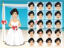 Woman Bride Cartoon Emotion faces Vector Illustration