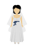 Woman Bride Character Vector Illustration. Female character without face in wedding dress vector in flat design. Woman template personage figure illustration Royalty Free Stock Photography