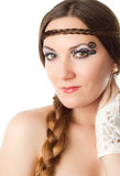 Woman bride with creative make-up and braid Stock Images