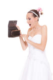 Woman bride with empty wallet. Wedding expenses. Royalty Free Stock Photo