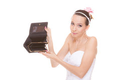 Woman bride with empty wallet. Wedding expenses. Royalty Free Stock Photography