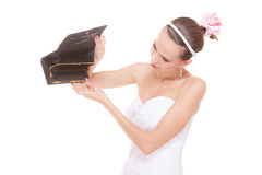 Woman bride with empty wallet. Wedding expenses. Stock Image