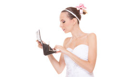 Woman bride with empty wallet. Wedding expenses. Stock Photos