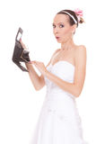 Woman bride with empty wallet. Wedding expenses. Royalty Free Stock Images
