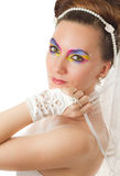 Woman bride with make-up of colored shadows Stock Image