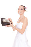 Woman bride with one dollar. Wedding expenses. Royalty Free Stock Images