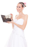 Woman bride with one dollar. Wedding expenses. Stock Photography