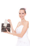 Woman bride with one dollar. Wedding expenses. Stock Photos