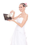 Woman bride with one dollar. Wedding expenses. Royalty Free Stock Photo