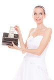 Woman bride with one dollar. Wedding expenses. Royalty Free Stock Photography