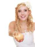 Woman bride with piggy bank Stock Photo