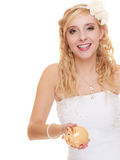 Woman bride with piggy bank Stock Image
