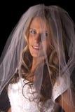 Woman bride veil on black close smile Stock Images
