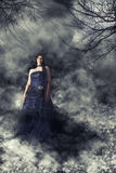 Woman bride with wedding dress in mysterious ghostly dark landscape. Woman bride with wedding blue dress in mysterious landscape spooky and dark. Fog and twigs royalty free stock photo