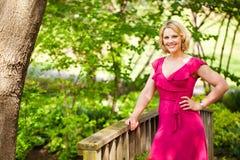 Woman on a bridge Royalty Free Stock Image