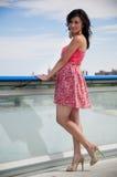 Woman on a bridge royalty free stock photo