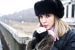 Woman On The Bridge stock image