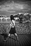 Woman  in the bridge of arts in paris Stock Photography