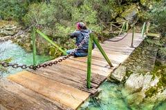 Woman on the bridge Stock Photos