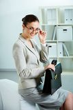 Woman with briefcase Royalty Free Stock Photography