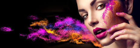 Woman with bright color makeup. Beauty woman with bright color makeup royalty free stock photos