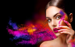 Woman with bright color makeup Stock Photos