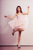 Woman in bright dress and high heels shoes dancing Royalty Free Stock Photo