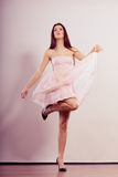 Woman in bright dress and high heels shoes dancing Royalty Free Stock Images