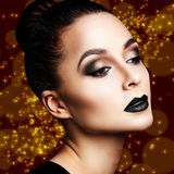 Woman with bright evening makeup Royalty Free Stock Photos