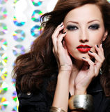 Woman with bright fashion eye make-up. Beauty woman with bright fashion eye make-up and red lips Royalty Free Stock Photography