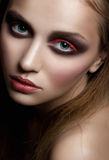 Woman with bright fashion makeup Stock Photography