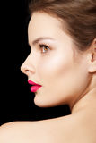 Woman with bright fuchsia lips make-up, clean skin Royalty Free Stock Photos