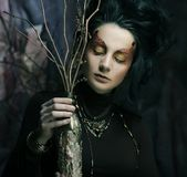 Woman with bright make up with dry branches Royalty Free Stock Images