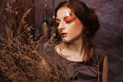 Woman with bright make up with dry branches Stock Image