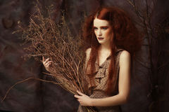Woman with bright make up with dry branches Stock Images