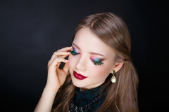 Woman bright make up Stock Image