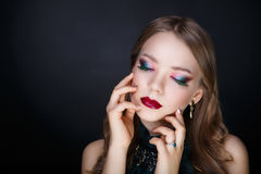 Woman bright make up Royalty Free Stock Photos
