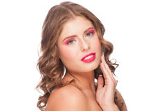 Woman with bright makeup Royalty Free Stock Image