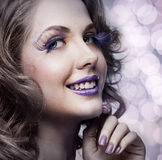 Woman with bright makeup Royalty Free Stock Photography